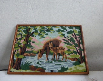 THE CANVAS BICHES vintage 1960, in a box pretty wooden frame