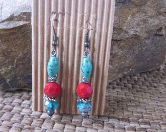 Boho earrings Turquoise / green magnesite stone faceted glass beads copper earrings bohemian earrings artisan earrings Lavish Lucy Designs