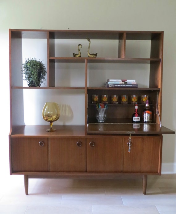 Modern Wall Units For Living Room: Mid Century Modern Wall Unit Room Divider Secretary