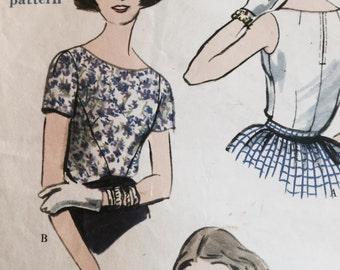 50s blouse pattern, large size, Vogue  pattern  9628, size 16 bust 36, vintage 1950s  pattern