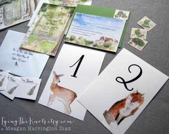 Watercolor Wedding Invitations - Woodland wedding suite - Custom wedding invitations - Castle in the Clouds - New Hampshire Wedding