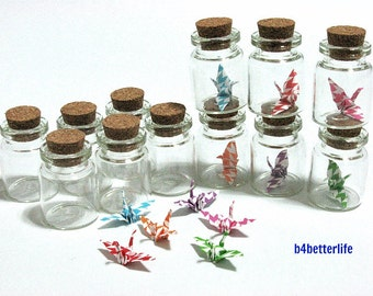 Lot Of 12pcs 1-inch Hand-folded Paper Crane In Clear Glass Mini Bottle With Cork. (MD paper series). #CIB12b.