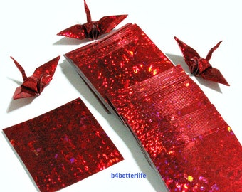 "200 Sheets 1.5"" x 1.5"" RED Color DIY Chiyogami Yuzen Paper Folding Kit for Origami Cranes ""Tsuru"". (4D Glittering paper series)."