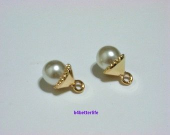"Lot of 24 pieces Gold Color plated Lucite ""Pearl"" Metal Charms. #HY047."