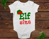 christmas baby bodysuit - baby christmas clothes - elf sized - elf hat