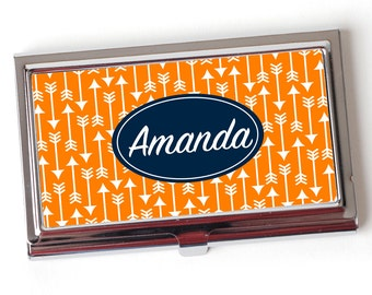 Personalized Business Card Case - Geometric Arrow Business Card Holder - Personalized Orange & Navy Blue Business Card Case