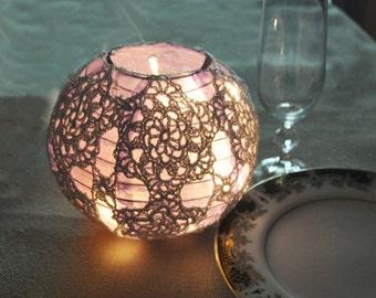 Wedding Candle Holders LED Votive Holders Lilac Crochet Table Centerpiece , Wedding Lighting, Wedding Table Decor, Party Wedding Decoration