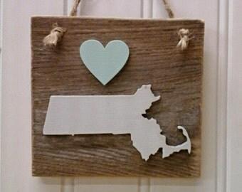 Massachusetts Decor, Massachusetts Ornament, Massachusetts State, Reclaimed Massachusetts, Wood Massachusetts, Love Massachusetts