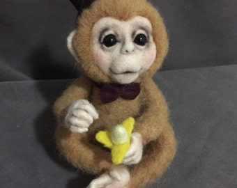 Made to Order - OOAK Needle Felted Boy Monkey