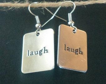 Silver Laugh Dangle Earrings