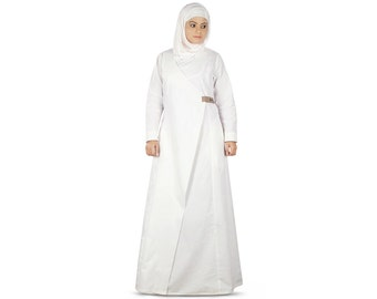 MyBatua Zuhera Prayer Abaya Long Kaftan Jalabiya High Fashion Islamic Muslim Woman Clothing Maxi Look White Gown Oversized AY-361