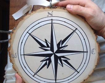 Compass Tree Slice Wall Hanging 5 Natural By Shelikesletters