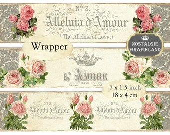 Wrapper French Rose Amour Soap Packaging printable Savon Wrapping Instant Download digital collage sheet E128