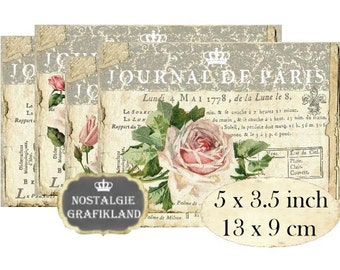 Journal de Paris French Cards Roses Shabby Chic Instant Download digital collage sheet P185 decoupage