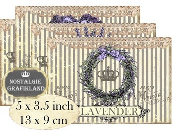 French Lavender Lavande Provence Flowers Stripes Lace Instant Download digital collage sheet P156