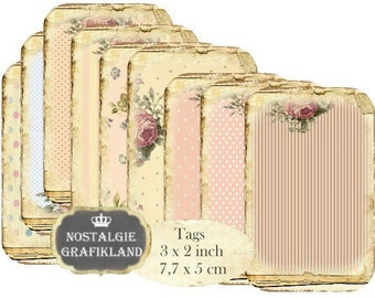 Shabby Chic Background Rose Instant Download digital collage sheet T118 digital Tags Roses stripe polka dots stars