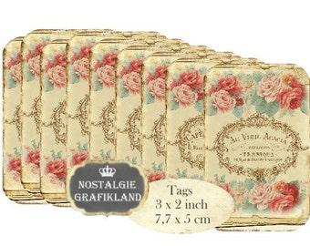 French Rose Logo Tags Instant Download digital collage sheet T129 digital vintage Tag Roses Logo
