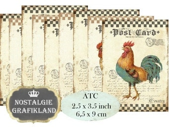 Farm Rooster Hen Eggs Chicken Poulet Le Coq Instant Download ATC digital collage sheet S090