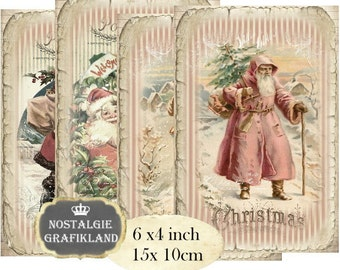 Santa Claus Vintage Christmas 6 x 4 inch Instant Download digital collage sheet D191 christmas xmas