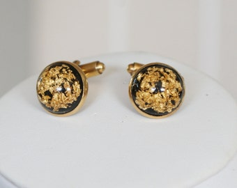 Vintage c1960s 12k Gold Filled Cufflinks with 24K Gold Flakes