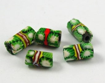 Antique Italian Millefiori Trade Bead Tubes (5)- Christmas Green 20mm