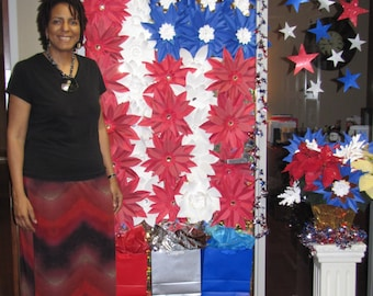 US Flag Patriotic Door Decoration - Giant Paper Flowers