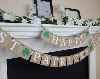 Happy St Patricks Day Banner, Lucky Banner, St Pattys Day decorations, clover, St Patricks Day Party decoration, shamrock,st pattys day sign