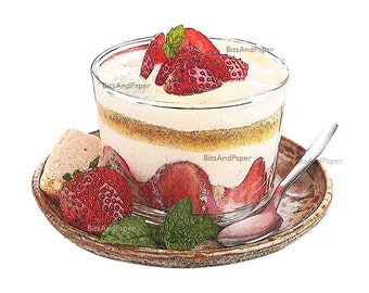 8x10 dessert illustration, strawberry tiramisu retro digital image, food art, kitchen art download, vintage inspired, printable art, PNG+JPG