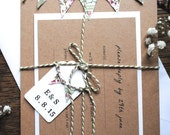 Custom Order for Laura - BALANCE - Rustic Mini Bunting Wedding Invitation. Kraft, Twine