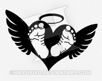 Baby Footprints with Wings - Printable vector, svg, jpeg