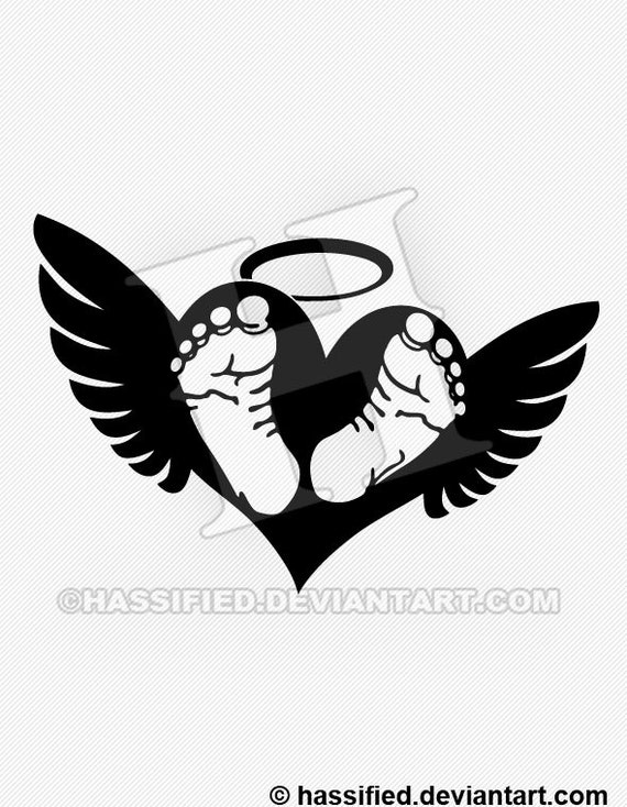 Baby footprints with wings printable vector by hassifieddesigns