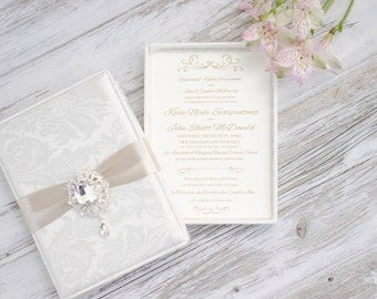 Elegant Boxed Wedding Invitation - Bridal Shower-  Baby Shower - Engagement Party - Ivory -  Custom Colors Available