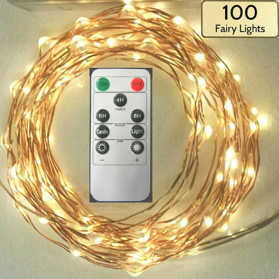 String Lights Remote Control : Remote Controlled Lights 100 Fairy Lights 17-foot 5m wire