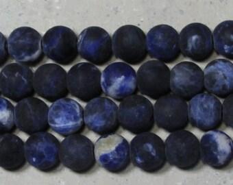 10mm Sodalite matte finish round  large hole  beads