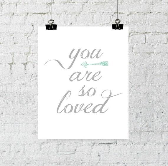 You Are So Loved, Nursery Decor, Arrow Wall Art, Home Decor, Typography, Nursery Wall Art, Printable Wall Art, Instant Download, ADOPTION