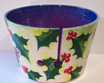 Holly and Berries yarn bowl.