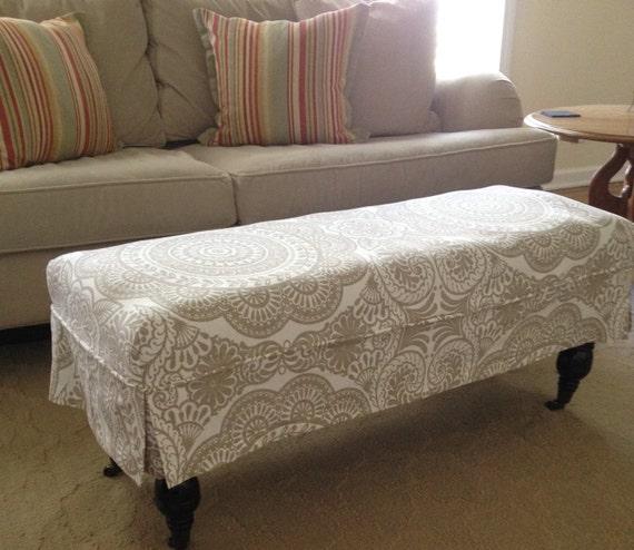 Ottoman Bench Skirted Slipcover