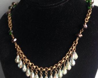 Glass Beaded Necklace, Flapper Gatsby Pendant, Formal Women