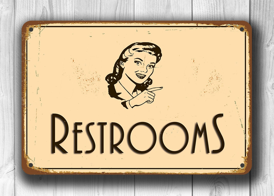 restroom sign restroom signs vintage style restroom sign. Black Bedroom Furniture Sets. Home Design Ideas