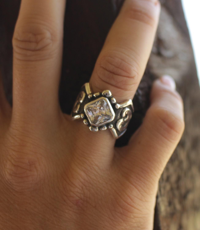 cubic zirconia ring western wedding rings Rockin Out Jolene Western Scroll Ring