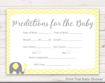 Baby Shower Games - Baby Predictions Game - Baby Predictiction Card, Yellow Elephant Shower Games, Elephant Prediction Card, Yellow Elephant
