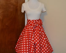 Minnie Mouse Inspired Red and White Polka Dot Circle Skirt and Sash