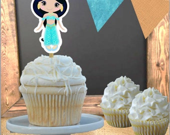 Cupcake Toppers - Set of 12 - Princess Jasmine  Aladdin Theme