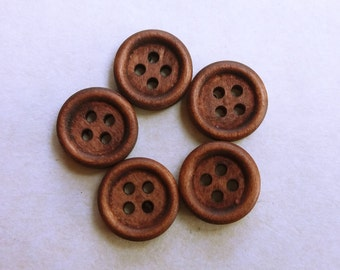 Wooden buttons. 15mm Coffee 4 hole. Set of 5