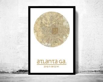ATLANTA - city poster - city map poster print