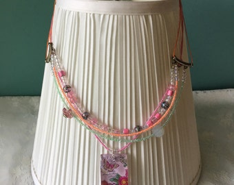 Pinks & Oranges Postcard Pendant Statement Necklace; Women's Beaded Statement Necklace
