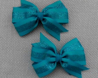 Teal Glitter Bow Set