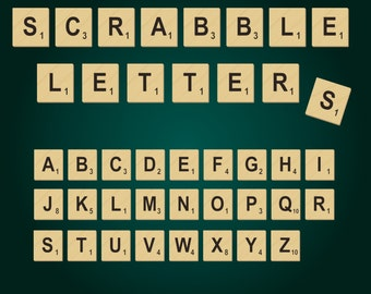 Scrabble Letters - 26 letters -  PNG Files - Instant Download