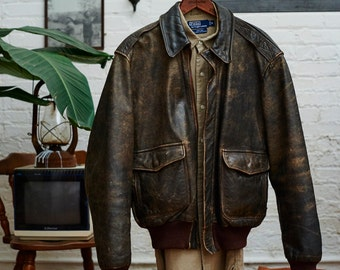 Beautiful vintage Indiana Jones style leather jacket!