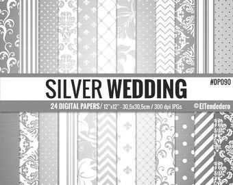 30% OFF!! Silver digital paper pack - Wedding digital papers - Metallic silver - Shiny silver geometric, damask and lace backgrounds